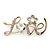 Gold Plated Crystal 'Love' Brooch - 45mm Length - view 6