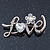 Gold Plated Crystal 'Love' Brooch - 45mm Length - view 3
