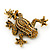 Gold Plated Citrine Crystal 'Frog With Bow' Brooch - 50mm Length - view 6