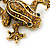 Gold Plated Citrine Crystal 'Frog With Bow' Brooch - 50mm Length - view 3
