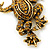 Gold Plated Citrine Crystal 'Frog With Bow' Brooch - 50mm Length - view 4