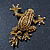 Gold Plated Citrine Crystal 'Frog With Bow' Brooch - 50mm Length - view 2