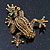 Gold Plated Citrine Crystal 'Frog With Bow' Brooch - 50mm Length - view 7