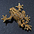 Gold Plated Citrine Crystal 'Frog With Bow' Brooch - 50mm Length - view 8