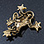 Gold Plated Citrine Crystal 'Frog With Bow' Brooch - 50mm Length - view 5