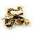 Classic Crystal Chinese Dragon Brooch With Simulated Pearl In Burn Gold Metal (Light Citrine/ Smokey Topaz Coloured) - 50mm Width - view 4
