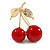 Red Bead 'Double Cherry' Diamante Brooch In Gold Plating - 40mm Width