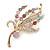 Multicoloured Swarovski Crystal 'Floral' Brooch In Polished Gold Plating - 68mm Length
