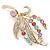Multicoloured Swarovski Crystal 'Floral' Brooch In Polished Gold Plating - 68mm Length - view 3