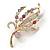 Multicoloured Swarovski Crystal 'Floral' Brooch In Polished Gold Plating - 68mm Length - view 4