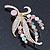 Multicoloured Swarovski Crystal 'Floral' Brooch In Polished Gold Plating - 68mm Length - view 6