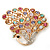 Gold Plated Multicoloured Swarovski Crystal 'Peacock' Brooch - 45mm Width - view 3