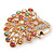 Gold Plated Multicoloured Swarovski Crystal 'Peacock' Brooch - 45mm Width - view 4