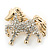 Small Gold Plated Crystal 'Horse' Brooch - 33mm Width - view 5