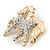 Small Gold Plated Crystal 'Horse' Brooch - 33mm Width - view 4