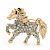 Small Gold Plated Crystal 'Horse' Brooch - 33mm Width - view 2