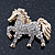 Small Gold Plated Crystal 'Horse' Brooch - 33mm Width - view 3