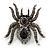 Large Black/ Dim Grey 'Spider' Brooch/ Hair Clip In Gun Metal Tone - 55mm Length