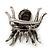 Large Black/ Dim Grey 'Spider' Brooch/ Hair Clip In Gun Metal Tone - 55mm Length - view 4