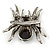 Large Black/ Dim Grey 'Spider' Brooch/ Hair Clip In Gun Metal Tone - 55mm Length - view 6