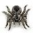 Large Black/ Dim Grey 'Spider' Brooch/ Hair Clip In Gun Metal Tone - 55mm Length - view 3