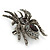 Large Black/ Dim Grey 'Spider' Brooch/ Hair Clip In Gun Metal Tone - 55mm Length - view 5