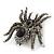 Large Black/ Dim Grey 'Spider' Brooch/ Hair Clip In Gun Metal Tone - 55mm Length - view 7