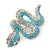 Turquoise Coloured Acrylic Bead, Crystal 'Snake' Brooch In Rhodium Plating - 65mm Length