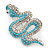 Turquoise Coloured Acrylic Bead, Crystal 'Snake' Brooch In Rhodium Plating - 65mm Length - view 2