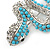 Turquoise Coloured Acrylic Bead, Crystal 'Snake' Brooch In Rhodium Plating - 65mm Length - view 3