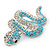 Turquoise Coloured Acrylic Bead, Crystal 'Snake' Brooch In Rhodium Plating - 65mm Length - view 6