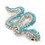 Turquoise Coloured Acrylic Bead, Crystal 'Snake' Brooch In Rhodium Plating - 65mm Length - view 4