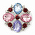 Statement Multicoloured Glass Bead Square Brooch In Rhodium Plating - 45mm Width - view 7