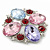 Statement Multicoloured Glass Bead Square Brooch In Rhodium Plating - 45mm Width - view 4