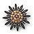 Garden Glow Dimensional Brooch In Antique Silver Metal - 55mm Diameter - view 1