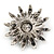 Garden Glow Dimensional Brooch In Antique Silver Metal - 55mm Diameter - view 6