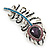 Stunning Vintage Inspired 'Peacock Feather' Brooch In Rhodium Plating (Teal/ Dark Blue/ Purple) - 80mm Length - view 2