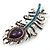 Stunning Vintage Inspired 'Peacock Feather' Brooch In Rhodium Plating (Teal/ Dark Blue/ Purple) - 80mm Length - view 4