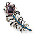 Stunning Vintage Inspired 'Peacock Feather' Brooch In Rhodium Plating (Teal/ Dark Blue/ Purple) - 80mm Length - view 7