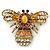 Stunning Large Swarovski Crystal 'Bumblebee' Brooch In Gold Plating (Clear/ Citrine/ Amber/ Topaz Coloured) - 60mm Width - view 7
