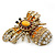 Stunning Large Swarovski Crystal 'Bumblebee' Brooch In Gold Plating (Clear/ Citrine/ Amber/ Topaz Coloured) - 60mm Width - view 6