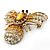 Stunning Large Swarovski Crystal 'Bumblebee' Brooch In Gold Plating (Clear/ Citrine/ Amber/ Topaz Coloured) - 60mm Width - view 2