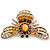 Stunning Large Swarovski Crystal 'Bumblebee' Brooch In Gold Plating (Clear/ Citrine/ Amber/ Topaz Coloured) - 60mm Width - view 5