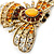 Stunning Large Swarovski Crystal 'Bumblebee' Brooch In Gold Plating (Clear/ Citrine/ Amber/ Topaz Coloured) - 60mm Width - view 3