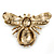 Stunning Large Swarovski Crystal 'Bumblebee' Brooch In Gold Plating (Clear/ Citrine/ Amber/ Topaz Coloured) - 60mm Width - view 4