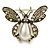 Vintage Inspired Crystal, Simulated Pearl 'Bumble Bee' Brooch In Antique Gold Tone - 60mm Across