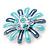 Blue Enamel Diamante 'Daisy' Floral Brooch In Rhodium Plating - 50mm Diameter - view 4