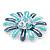 Blue Enamel Diamante 'Daisy' Floral Brooch In Rhodium Plating - 50mm Diameter - view 5