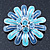 Blue Enamel Diamante 'Daisy' Floral Brooch In Rhodium Plating - 50mm Diameter - view 2