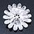 Blue Enamel Diamante 'Daisy' Floral Brooch In Rhodium Plating - 50mm Diameter - view 6